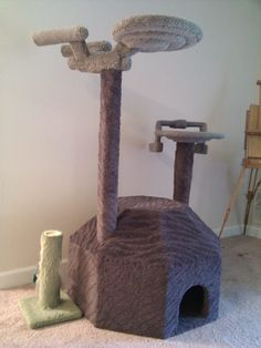 I don't necessarily want my cat at such high heights where he can jump on me. However, an Enterprise shaped cat tree would be quite appropriate, considering.