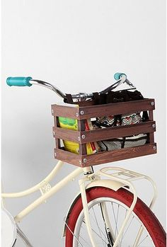 Classic Crate Wood Bike Basket from Urban Outfitters!  On sale for $35