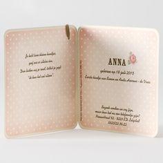 Geboortekaartje Buromac Baby Folly 2016 - 584023 - Roze bloemenkaart vintage