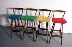 Danish modern Hansen teak bar stools Denmark 1960's mid century - BEAUTIFUL
