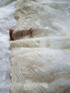cream lace trim Embroidered Gauze lace Scollaped lace by LaceFun