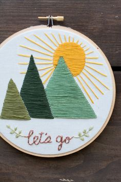 Arte del bordado del aro montañas vamos a por MountainsofThread