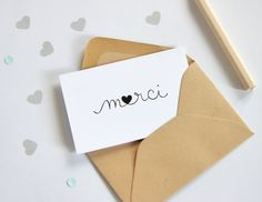 Mini carte Merci by Zü www.zu-boutique.com Diy For Kids, Crafts For Kids, Wedding Thanks, Scrapbook Cards, Scrapbooking, Homemade Cards, Teacher Gifts, Stationery, Gift Wrapping