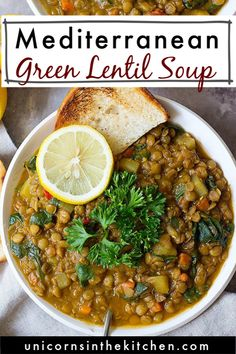 Green lentil soup with a Mediterranean twist is the perfect weeknight dinner. This healthy and hearty lentil soup is packed with vegetables and spices. It's naturally vegan and gluten free and I love making a large batch of it to enjoy during the week! Healthy Crockpot Recipes, Healthy Dinner Recipes, Appetizer Recipes, Cooking Recipes, Healthy Soups, Healthy Eating, Green Lentil Soup, Green Lentils, Mediterranean Soup