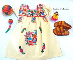 Butterfly Yvory Mexican Embroidered Fiesta Baby Dress Size