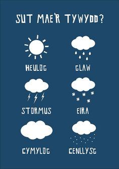 How is the weather today? Illustrated weather symbols in Welsh by apalelandscape on Etsy Welsh Words, Welsh Phrases, Welsh Sayings, Wales Language, Welsh Tattoo, Learn Welsh, Spanish Help, Cardiff Wales, Anglesey
