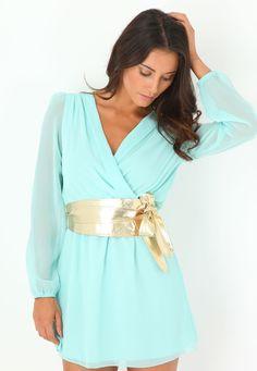 Henslin Long Sleeved Crossover Dress With Obi Belt