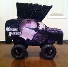 Remote controlled Mohawk Warrior monster truck Valentines day box that my five year old and I made.