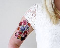 Colorful vintage floral temporary tattoo / vintage by Tattoorary