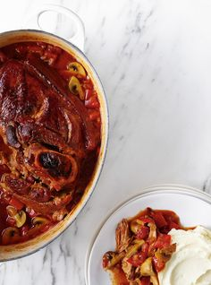 Recette de Ricardo de porc braisé aux champignons  et à la tomate