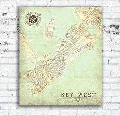 KEY WEST FL Canvas Print Florida Keys Fl Vintage map City Plan Map Key West Fl Vintage Wall Art poster old map gift card home decor poster