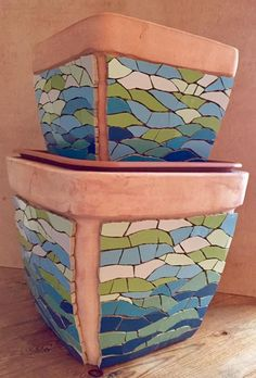 Mosaic water feature update - the snipping and sticking is finished - The grouting is going to have to wait for a bit but you can get some idea now of how it's going to look ... - what do you think? Fx