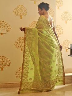 Lime Green Handwoven Sequined Kota Tissue Saree with Real Zari by Vidhi Singhania Green Saree, Cotton Saree, Sarees, Hand Weaving, Lime, Stuff To Buy, Beauty, Classic, Silver