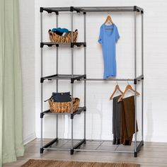 Honey-Can-Do WRD-02124 Double Rod Freestanding Closet. Made of durable steel and plastic construction. Freestanding double rod wardrobe closet is portable. Keeps clothing organized with 4-tier stacking shelves and dual rods for hangers. Easy setup-no power tools required for assembly. Steel and plastic construction give closet strength for years of maintenance free use. Product Dimensions of 45.25L x 19.7w x 68h.