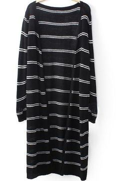 Black Long Sleeve Striped Knit Long Sweater 15.83 SALE!!