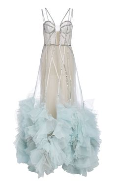 Embellished Ruffled Organza Gown by Marchesa Marchesa Fashion, Marchesa Gowns, Dressy Dresses, Club Dresses, Linen Dresses, Couture Looks, Online Dress Shopping, Shopping Sites, Pageant Dresses