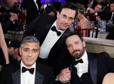 George Clooney, Jon Hamm, Ben Affleck at the Golden Globes. As a friend said, all we need is Hugh Jackman...