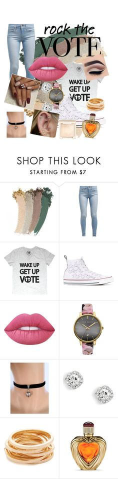 """Rock the vote"" by maryamsaeed1 ❤ liked on Polyvore featuring Gucci, Levi's, Converse, Lime Crime, Ted Baker, Kenneth Jay Lane, Victoria's Secret and Jouer"
