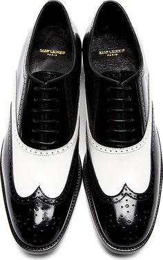 Saint Laurent Black & White Leather University Richelieu Spectator Shoes