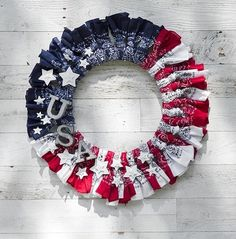 Bandana Wreath: 6 each of red/white/blue bandanas, wire wreath, letters, stars Patriotic Crafts, Patriotic Wreath, July Crafts, Patriotic Decorations, Summer Crafts, 4th Of July Wreath, Holiday Crafts, Holiday Ideas, Holiday Decor