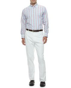 Peter Millar Port Striped Long-Sleeve Shirt & Raleigh Washed Flat-Front Pants - Neiman Marcus