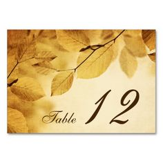 Rustic Fall Table Numbers Table Card