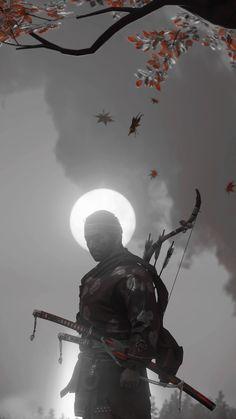 Samurai Warrior Tattoo, Gaming Wall Art, Samurai Artwork, Ghost Of Tsushima, Cover Art, Dark Art Drawings, Shadow Warrior, Wallpaper Naruto Shippuden, Backgrounds