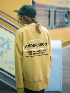 ANDERSSON BELL (UNISEX)Time Slogan Sweatshirt atb056(Mustard)