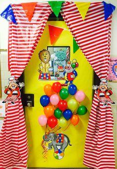 Circus theme classroom door. School spirit. Curtain. Balloons. Pennant banner. Carnival. Teacher appreciation day. Cute Class door. Stripes. Elephant. Lion. Welcome. Big top. school door idea.