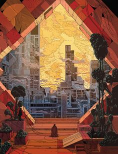 Kilian Eng was born 1982 in Stockholm, Sweden. He graduated in 2010 from Konstfack, University of Arts Craft & Design in Stockholm with a bachelor and master in Illustration and storytelling. Art And Illustration, Illustrations And Posters, Psychedelic Art, Fantasy Kunst, Fantasy Art, Sf Wallpaper, Science Fiction Kunst, Bd Art, Arte Cyberpunk