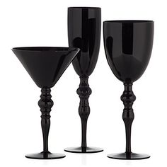 Transform your fete into a dashing display of black opaque stemware with our Onyx Stemware.