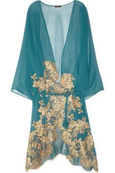 Mezza Luna lace-appliquéd silk-chiffon robe by Rosa Mosario colors Belle Lingerie, Designer Lingerie, Luxury Lingerie, Vintage Lingerie, Sexy Lingerie, Lingerie Silk, Bustiers, Turquoise, Aqua