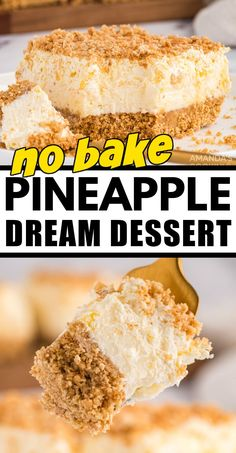 Oh my gosh, this is the BEST!! My grandma always made this and now my mom does. Guess I'll have to start making it too because it just rocks! It's called Pineapple Dream Dessert. Yum! #pineappledesserts #pineapplecreamcheesedesserts #creamcheesedesserts #pineapple #potluckdesserts #nobakedesserts #onepandesserts #summerdesserts #amandascookin Icebox Desserts, Potluck Desserts, Easy No Bake Desserts, Delicious Desserts, Pudding Desserts, Potluck Recipes, Yummy Food, Pinapple Dessert Recipes, Pineapple Recipes