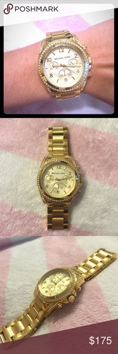 "REDUCED Michael Kors Womens MK5166 'Runway' Watch Michael Kors Women's MK5166 'Runway' Chronograph Crystal Gold-tone Stainless Steel Watch. Lightly worn. A couple of minor ""rub"" marks but otherwise in great, working condition. Authentic. Never sized so it can fit any size wrist. Open to offers :) Michael Kors Accessories Watches"
