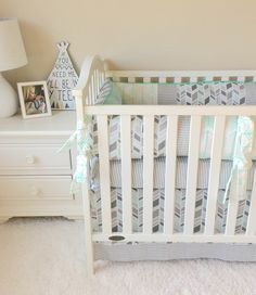 Ritzy Baby Designs, LLC - Mint Arrows and Grey Houndstooth Crib Bedding, $488.00 (http://www.ritzybaby.com/mint-arrows-and-grey-houndstooth-crib-bedding/)