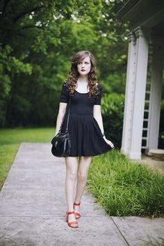 American Apparel Bodysuit, American Apparel Circle Skirt, Dooney & Bourke Saddle Bag
