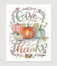 Give Thanks Print Thanksgiving Decor Fall Art by LilyandVal