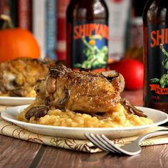 Beer Braised Chicken is an easy, affordable way to enjoy a hearty Autumn dish on dinner table. Serve over Pumpkin Risotto for added flair!