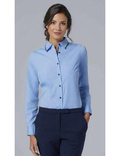 Camisa manga larga azul cielo con azul marino