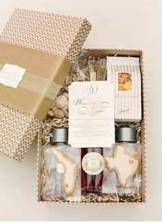 Gorgeous wedding welcome box featuring our gold + kraft Eastham keepsake box