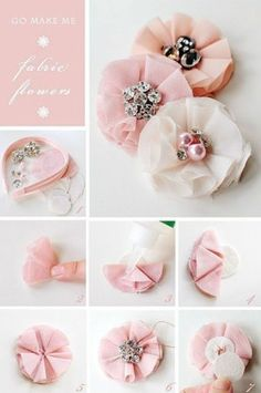 How-to-make-a-fabric-flower-headband hair accessories diy fabric flowers Inspirational Monday – Do it yourself (diy) Flower series – Fabric Flower Handmade Flowers, Diy Flowers, Tulle Flowers, Wedding Flowers, Beautiful Flowers, Headband Flowers, Fabric Flower Headbands, Flower Brooch, Shabby Chic Flowers