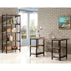 Modern Metal Frame and Salvaged Cabin Wood Finish Home Office Collection | www.overstock.com