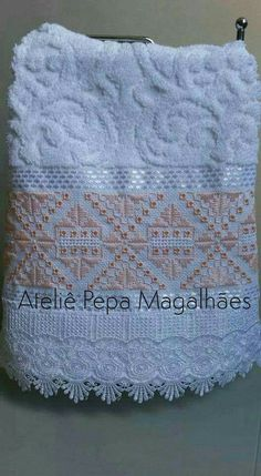 Resultado de imagen para bordado hardanger toalha banho