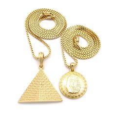 King Tut Pyramid Of Giza Egyptian Micro Pendant Chain - Bling Jewelz