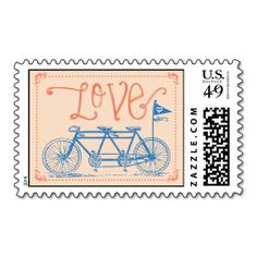 Shop Love - Tandem Bike Postage Stamp created by theoriginalpear. Personalize it with photos & text or purchase as is! Teal Wedding Invitations, Wedding Invitation Design, Wedding Stationery, Invites, Wedding Postage Stamps, Love Stamps, Stamp Collecting, Coral, Tandem Bikes