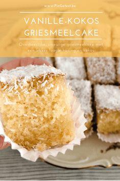 Vanille kokos griesmeelcake maken met laagje honing - Overheerlijk recept - PinGetest Cake Recept, Great Recipes, Healthy Recipes, Healthy Food, Brownie Cupcakes, Blondie Brownies, Food Blogs, Blondies, Coco