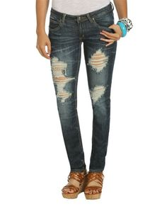 Destroyed Pintuck Skinny Jean - Teen Clothing by Wet Seal - StyleSays