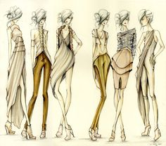 Langley Fox Hemingway super chic fashion design illustrations, style drawings