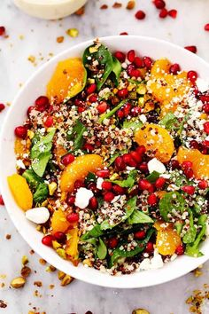 Winter Pomegranate Orange Quinoa Salad with Creamy Lemon Greek Yogurt Dressing
