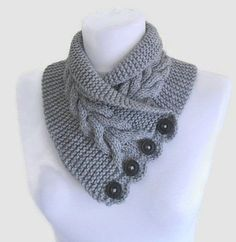 Free knitting pattern for Gray Cable Neckwarmer and more neck warmer knitting…
